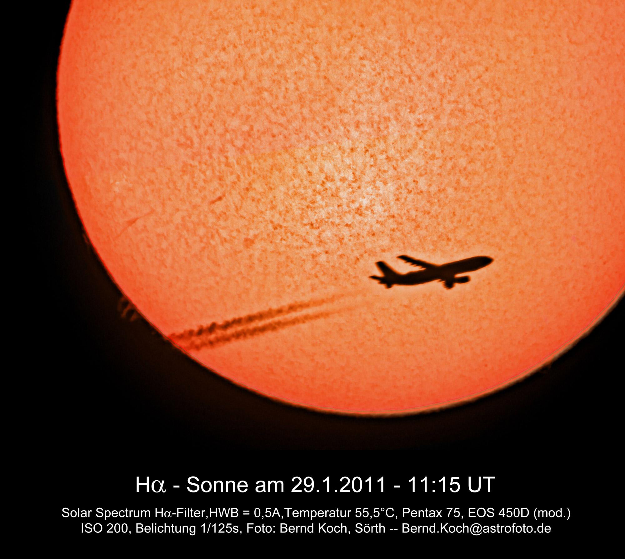 H Alpha Sonne Und Flugzeug